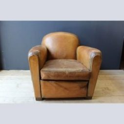 Vintage French 1930's Leather Club Armchair