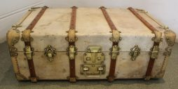 Antique Vellum Trunk by Fichet of Paris
