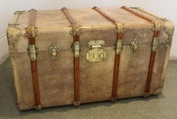 Large Antique Vellum Trunk by Fichet of Paris