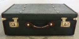 Antique Green Canvas Leather Trimmed Suitcase