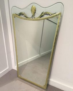 A Stylish Wall Mirror by Cristal Arte  Italian Circa 1950