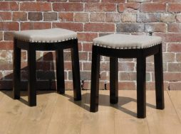 Pair Vintage Re-upholstered Bar Stools