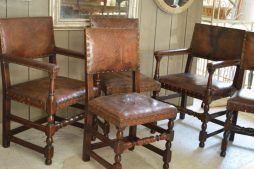 Antique English 19th Century Leather Dining Chairs