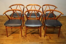 Set of 6 Danish Teak Dining Chairs Henning Kjaernulf for Bruno Hansen Model 225
