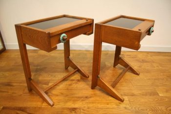 Pair 1960s French Oak Bedside Tables Guillerme and Chambron