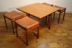Set of 4 1960s Danish Teak Stools Nesting in Coffee Table