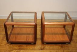 Pair 1970s Teak Cube Lamp Tables
