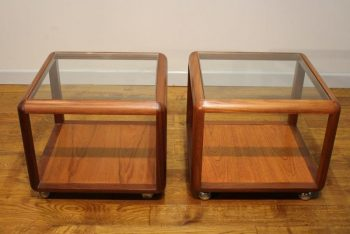 Pair 1970s Teak Cube Lamp Tables