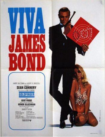 James Bond: An Original French Movie Poster for Viva James Bond! Festival Release of Goldfinger, 1972