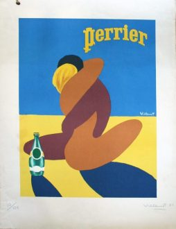 Bernard Villemot (1911-1989) A Rare Signed Limited Edition Print 'Perrier', Dated 1980