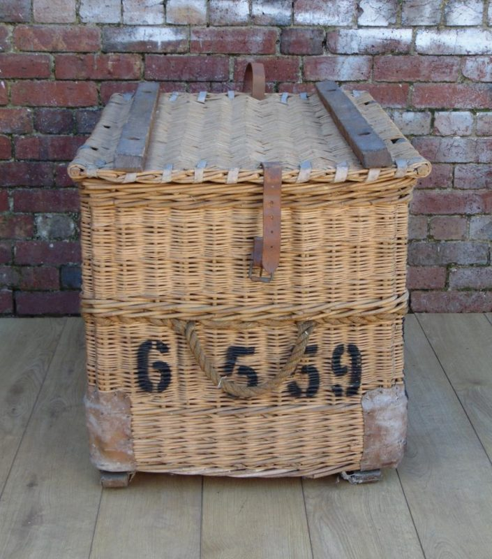 Vintage 1940s English Wicker Laundry Basket By C Sage