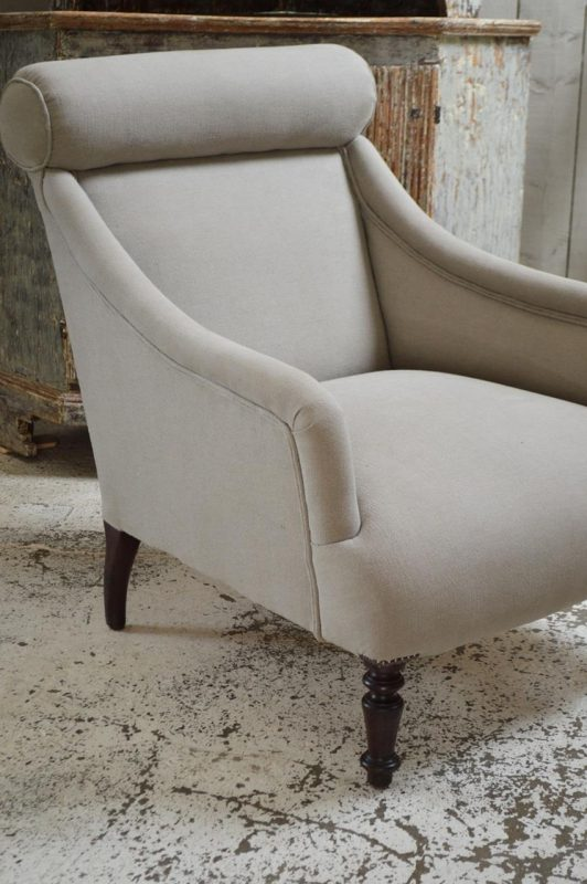 Reupholstered antique 19th century french armchair for Reupholstered chairs for sale