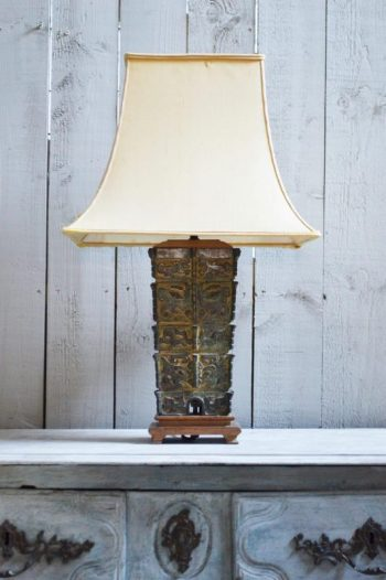1950s Verdigris Bronze Table Lamp