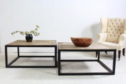 Artisan Architectural Metal and Wood Coffee Tables