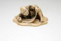 Antique 19th Century Ivory Netsuke Reading Man
