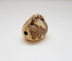 Antique Carved Ivory Mokugyo Netsuke