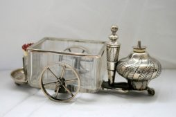 Antique 19th Century Silver and Glass Smokers Accoutrement Fire Cart