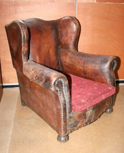 Antique Wing Back Leather Armchair