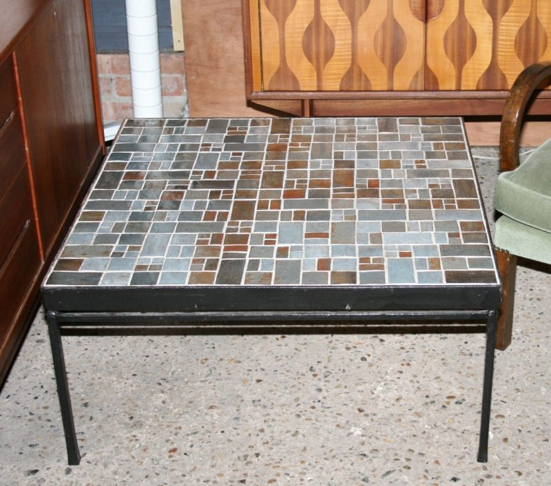 Mid Century Tile Top Coffee Table: French Mid-Century Mosaic Tile Top Coffee Table