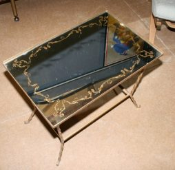 French Decorative Mirrored Side Table