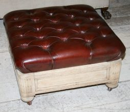 Antique English Leather Bleached Oak Ottoman
