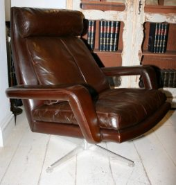 Mid-Century Danish Leather Chair and Foot Stool