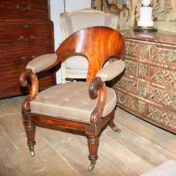 Antique Klismos Style Library Armchair