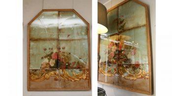 Pair of Decorative Antique Glass Panels
