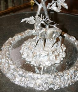 Large Antique Silver Plate Centerpiece with Stag