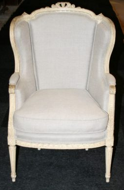 Antique Pair of Louis XVI Revival Wing-Arm Bergere Chairs