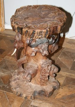 Antique Carved Wood Side Table - POA