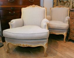Pair of Large Antique Armchairs Louis XV Revival Bergeres