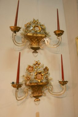 Pair of Gilt Tole and Lucite Wall Lights attributed to Maison Bagues