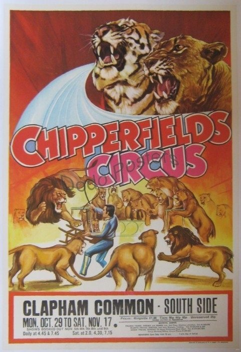 Vintage Chipperfields Circus Advertising Poster Interior