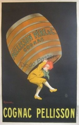 Antique Cognac Pellisson Advertising Poster By Artist Capiello