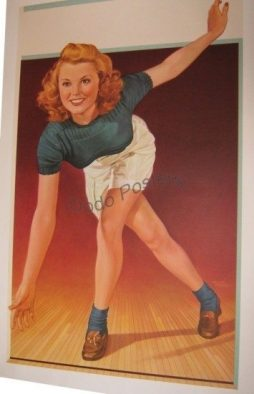 Vintage 1950s Bowling Girl Poster