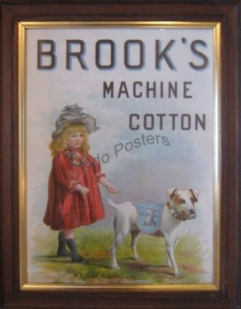 Antique Framed Brooks Cotton Advertising Picture