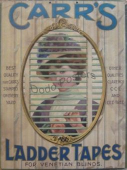 Antique Carr's Ladder Tapes Advertising Card Sign