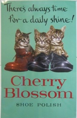 Vintage Cherry Blossom Shoe Polish Tin Sign