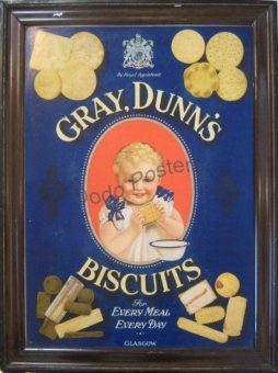 Antique Gray Dunns Biscuits Framed Advertising Sign