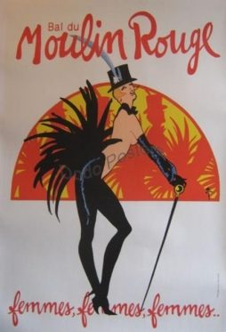 Large Moulin Rouge femmes, femmes, femmes Poster By Artist Gruau