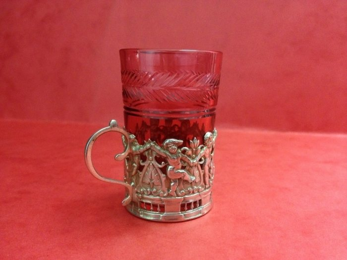 Antique Sterling Silver And Glass Liqueur Glasses Set Of