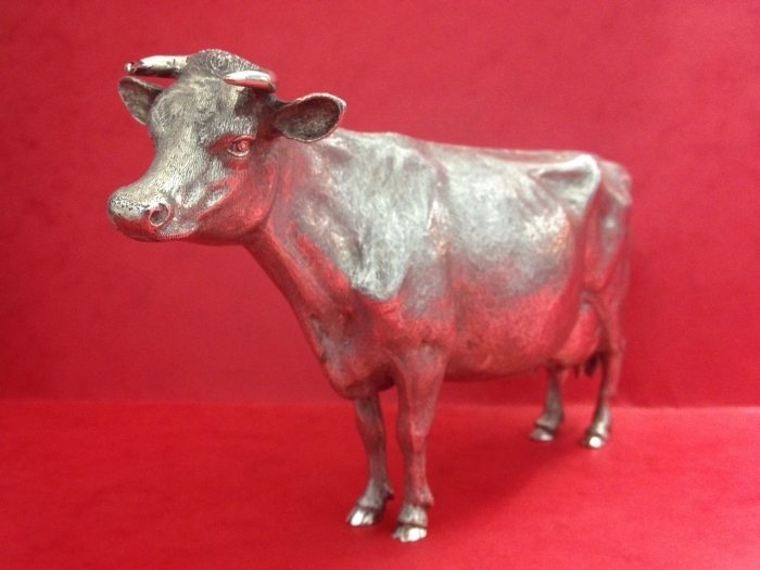 Large Lifelike Sterling Silver Dairy Cow Interior