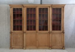 Antique 19th Century Large Pine Breakfront Bookcase - POA