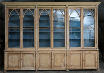 Exceptionally Large Antique French Pine Bookcase - POA