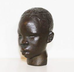 Antique Bronze Head of African