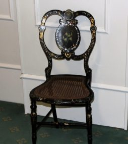 Antique Lacquer Chair Finely Painted with Brass Plaque
