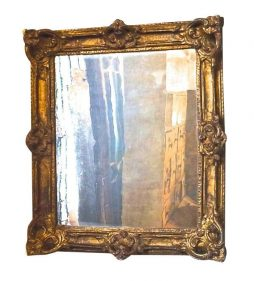 Antique 19th Century Papier Mache Framed Mirror in Rococo style