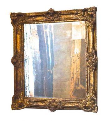 Antique 19th Century Papier Mache Framed Mirror in Rococo style