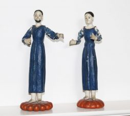 Pair of Antique Naive Wood Figures